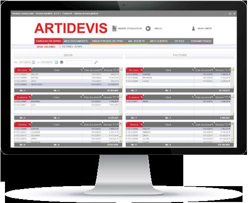 Le logiciel ARTIDEVIS V9