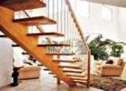 Escalier droit bois et métal