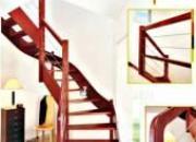 Escalier 2/4 tournant bois, câble et verre