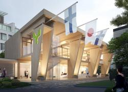 Onze jours pour assembler le Pavillon en bois Metsä au Japon
