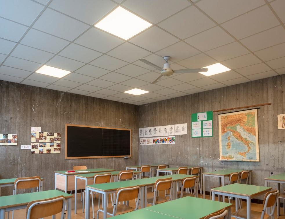 Rockon® améliore le confort acoustique d'une salle de classe dans un collège italien